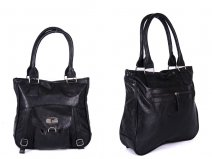 HB-PU-L83-210 BLACK leather bag with g logo