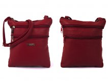 5894 RED leather Gran PU Top Zip Bag with 4 Zips