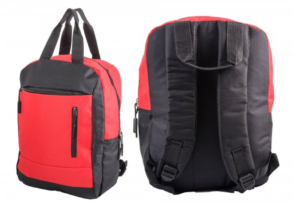 BP-116 BLK/RED RUCKSACK W/ 3 ZIPS AND 2 CARRY HANDLES