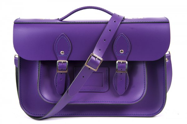 "15"" PURPLE PATENT BRIEFCASE MAGNETIC LEATHER"