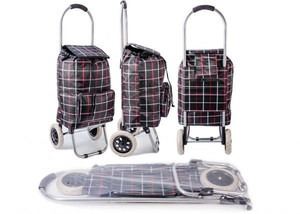 ST-CH-03 BLK CHECK 2 WHEEL SHOPPING TROLLEY
