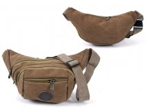2556 BROWN Multi Zip Oval Shaped Bumbag 4 Zips