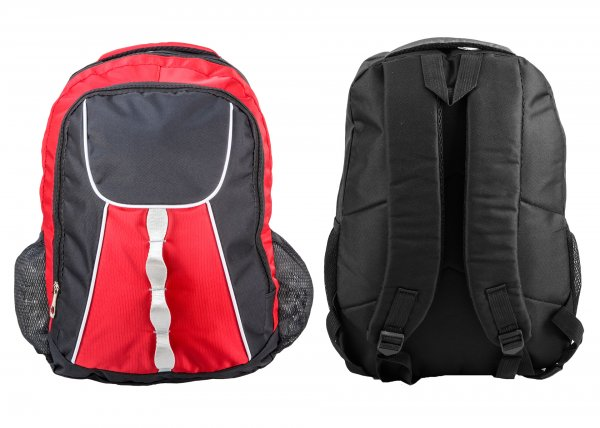 BP-103 BLK/RED RUCKSACK W/ 2 ZIPS AND 2 NETTED POCKETS