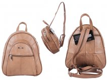 3748 tan Cow Hide Backpack with 4 Zips