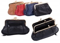 1487 BLACK Med.S.Nappa Triple Frame Purse With Zip