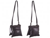 5860 BROWN Small Twin Section PU Bag wth 4 Zips