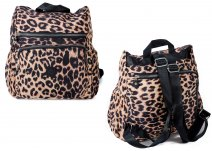 2447 Leopard Backpack ront Zipped Backpack with Front Zip Pocket