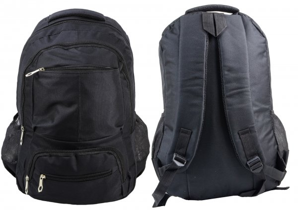 BP 113 BLK RUCKSACK W/ 5 ZIPS AND 2 NETTED POCKETS