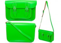 11 INCH OXBRIDGE SATCHEL LEAF BUCKLE NEON GREEN
