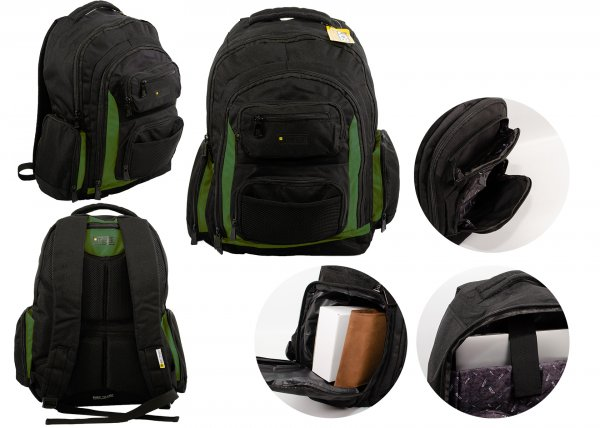 JCBBP22 BLACK/GRN RUGGED BACKPACK WITH MULTIPLE COMPARTMENTS