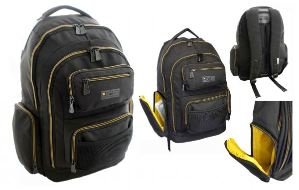 JCBBP22 Black/Yellow Rugged Backpack With Multiple Compartments