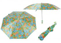 CASAVIA GREEN/BLUE/ORANGE FLOWER PRINT UMBRELLA