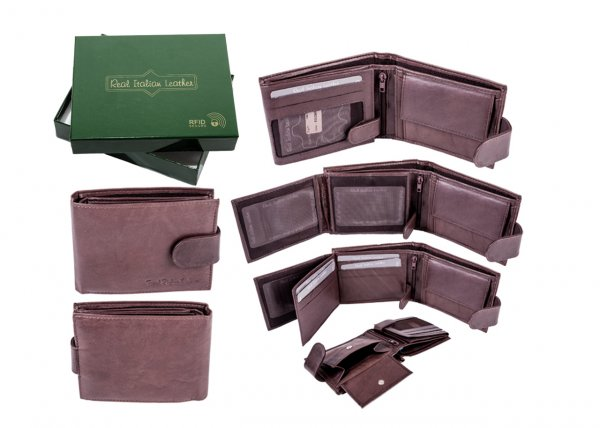 1007 BROWN - RFID CARD PROTECTION GENUINE LEATHER WALLET GRN BOX