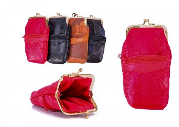4611 REAL LEATHER PURSE RED