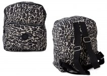 2446 Grey Leopard Twin Top Zip Round Backpack with Front Zip