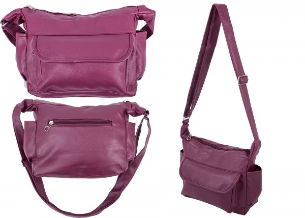 5731 TOP ZIP PU BAG WTH FRONT ZIP, BCK ZIP & SD P BURGUNDY