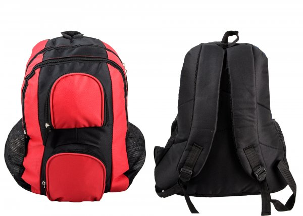 BP-100 BLK/RED RUCKSACK W/ 4 ZIPS AND 2 NETTED POCKETS