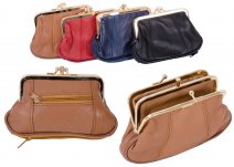 1487 TAN Med.S.Nappa Triple Frame Purse With Zip