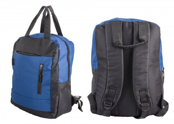 BP-116 BLK/BLUE RUCKSACK W/ 3 ZIPS AND 2 CARRY HANDLES