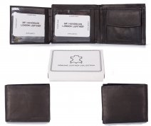 1066 RFID BLACK LONDON LEATHER WALLET W/CC FLAP