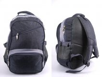 "2596 LIGHT GREY ""DENIUM"" LOOK BACKPACK WITH 4 ZIPS & SIDE P"