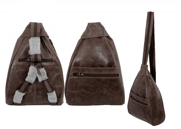 669 100% REAL LEATHER BACKPACK BROWN