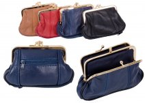 1487 BLUE Med.S.Nappa Triple Frame Purse With Zip