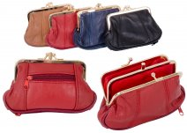 1487 RED Med.S.Nappa Triple Frame Purse With Zip