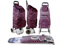 ST-DP-02 POLKA DOT BLK/RED 2 WHEEL SHOPPING TROLLEY