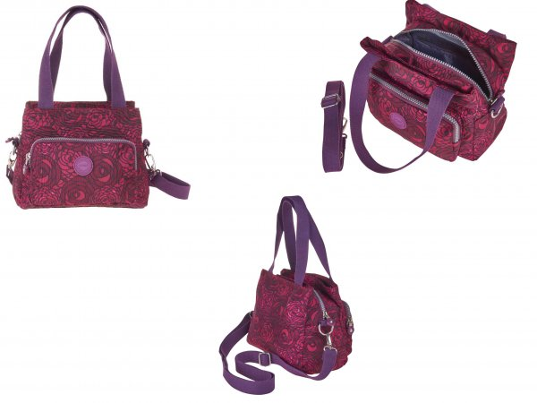 2503 RED PATTND CRINKLED NYLON H'BAG WITH SHLDER ST