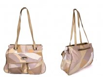 M23698 BEIGE leather patchwork bag