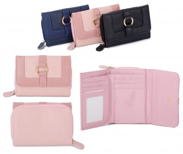 JBPS188 PINK PU PURSE W/ CARD HOLDERS & COIN SECTION