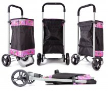 6962/S Pink floral Collapsible Shopping Trolley