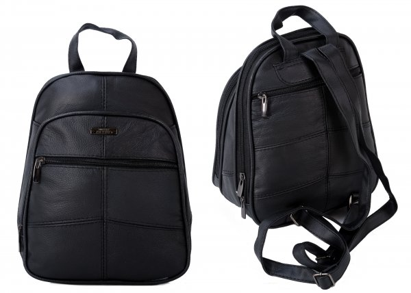 3744 BLACK BACKPACK WITH TOP ZIP ROUND COMPARTMENT