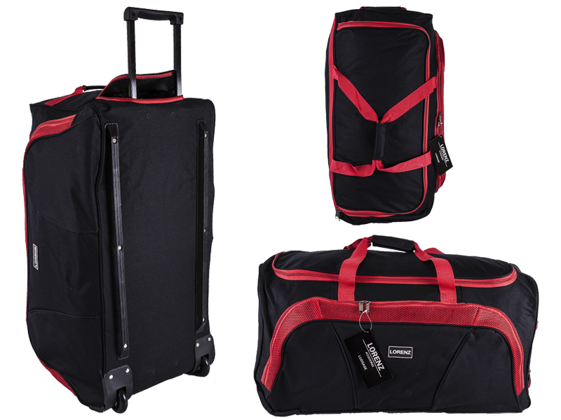 "2621 Black/Red 28"" Trolley Bag with Front Pocket & Retractable"