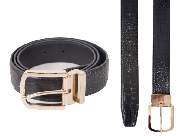 "2734BLACK 1.25"" CROC GRAIN BELT WITH GILT BUCKLE M"