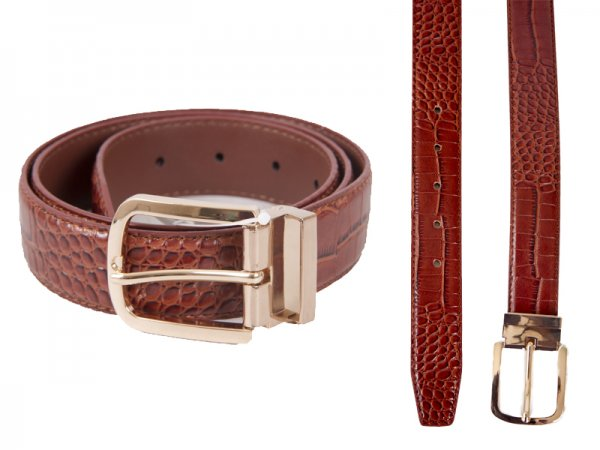 "2734BROWN 1.25"" CROC GRAIN BELT WITH GINT BUCKLE M"