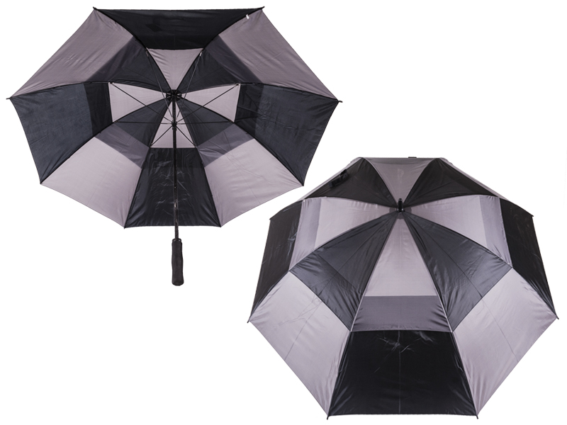 2817 Contrast Golf Umbrella with Wind Flaps BLACK/GREY
