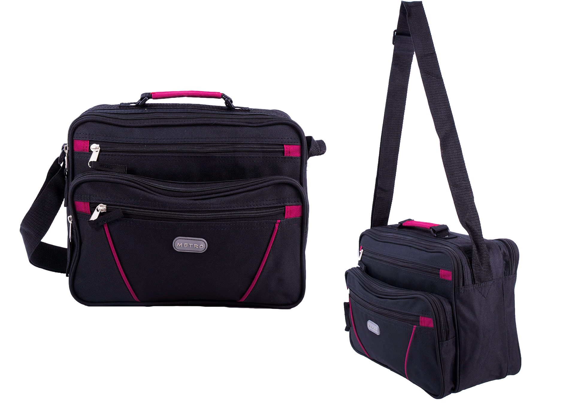 LL-7911 BLACK/BURGUNDY FLIGHT BAG